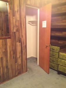 Bedroom 2 closet with wood paneling
